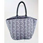 9224 - GREY AND WHITE SNOW FLAKES CANVAS TOTE