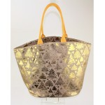 9225 - GOLD TREES PRINT DESIGN CANVAS TOTE