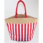 9216- RED AND WHITE STRIPE CANVAS TOTE