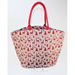 9223 -GLITTER RED REINDEER PRINT DESIGN CANVAS TOTE