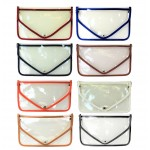 9167-8 COLORS - 8 PIECES LINING TRANSPARENT CLUTCH BAG (8 COLORS)