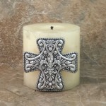 7001-SIL-CLR - SILVER CROSS CANDLE PIN W / CLEAR STONE FDL