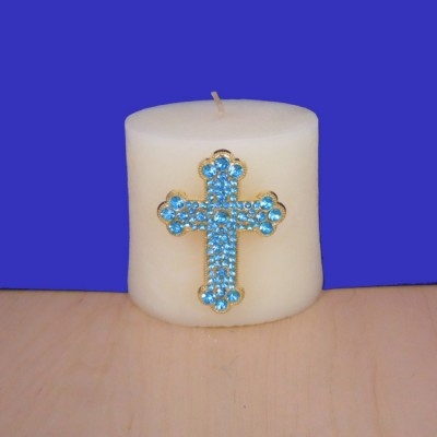 1031TQ - TURQUOISE STONE CANDLE PIN W / CROSS