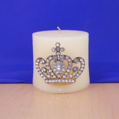 1032CL - CLEAR STONE CANDLE PIN W / CROWN