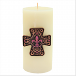 7001-COP-PINK - COPPER CROSS CANDLE PIN W / PINK STONE FDL