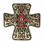 7001-SIL-PINK - SILVER CROSS CANDLE PIN W / PINK STONE FDL