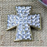 1017CL - CLEAR STONE CANDLE PIN W / CROSS