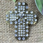 1035CL - CLEAR STONE CANDLE PIN W / CROSS