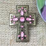 1023PK - PINK STONE CANDLE PIN W / CROSS