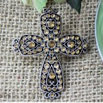 1010AM - AMBER STONE CANDLE PIN / W CROSS DESIGN