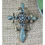 1030TQ - TURQUOISE STONE CROSS CANDLE PIN W / FDL