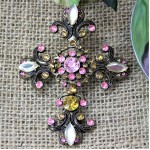 1027PK-AM - PINK AND AMBER STONE CANDLE PIN W/CROSS