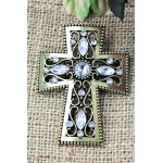 1028CL - CLEAR STONE CANDLE PIN W / CROSS