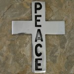 30388- ALUMINIUM WALL CROSS W/PEACE SIGN