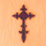 7003COP-PUR PURPLE CRYSTAL / COPPER WALL CROSS / W FDL DESIGN