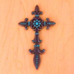 7003COP-TUR TURQUOISE CRYSTAL / COPPER WALL CROSS / W FDL DESIGN