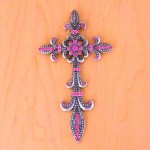 7003SIL-PNK PINK CRYSTASILVER WALL CROSS / W FDL DESIGN