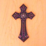 7007COP-PUR PURPLE CRYSTAL / COPPER WALL CROSS / W STA