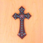 7007COP-TUR TURQUOISE CRYSTAL / COPPER WALL CROSS / W STAR