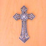 7007SIL-AMB AMBER CRYSTAL / SILVER WALL CROSS / W STAR