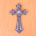7007SIL-BLK BLACK CRYSTAL / COPPER WALL CROSS / W STAR