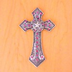 7007SIL-PNK PINK CRYSTAL / SILVER WALL CROSS / W STAR