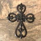56402 - CAST IRON FLEUR DE LI WALL CROSS