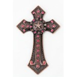 7007COP-PNK PINK CRYSTAL / COPPER WALL CROSS / W STAR