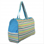 180582-MULTI STRIPES DESIGN TRAVEl,BEACH OR SHOPPING TOTE W/POCKETS
