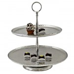 3522-ROUND 2 TIER HAMMERED CUP CAKE OR FRUIT STAND W/ROUNDED HANDLE