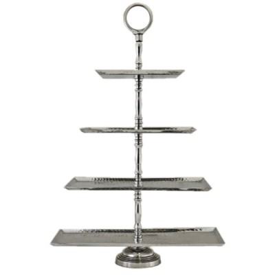 3524-RECT. 4 TIER HAMMERED FRUIT OR CUP CAKE STAND