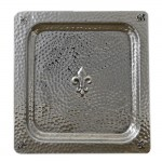 "3518- TRAY HAMMERED DESIGN SQUARE W/FDL  13""X13"""