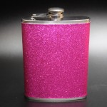 181086 - HOT PINK GLITTER FLASK  8OZ.