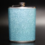 181085 - LT. BLUE GLITTER FLASK  8OZ.