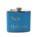 181095 - NEW ORLEANS LT. BLUE GLITTER FLASK  6OZ.