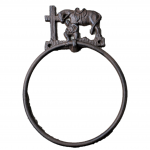 56476- CAST IRON COWBOY KNEELING TOWEL RING HOLDER