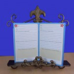 "1179B - BRASS FDL COOK BOOK OR BOOK HOLDER 12""X3""X14"""