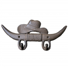 G006 - CAST IRON LONGHORN AND HAT WALL HOOK