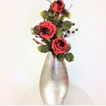 "80049-FLOWER VASE 17"" W/HAMMERED DESIGN"