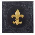 1098 - SQUARE WALL PLAQUE BLACK W/GOLD FDL HAMMERED