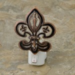 YX2002-FDL-BRONZE COLOR NIGHT LIGHT W/FLEUR DE LIS