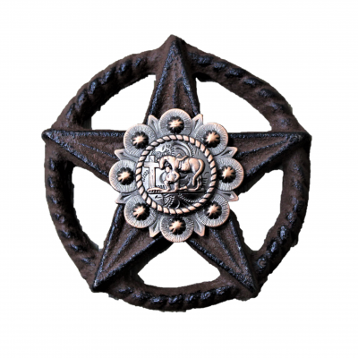 G024-1 CAST IRON STAR WITH TEXAS STATE CONCHO WALL DECOR (2 PIECE SET)