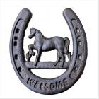G044- CAST IRON WELCOME HORSE SHOE  WALL DECOR