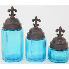 50002 OCEAN BLUE- ROUND 3PC. SMALL CANISTER SET WITH LIDS