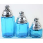 50002 OCEAN-BLUE - SMALL 3PC. ROUND CANISTER SET WITH LIDS