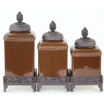 60003 BROWN CERAMIC LARGE CANISTER SET W / GRAPE COPPER LIDS & BASE