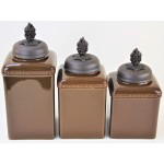 60003-BROWN 3PC. CERAMIC LARGE CANISTER SET WITH LIDS