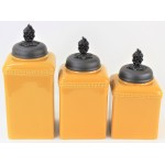 60003-MUSTARD 3PC. CERAMIC LARGE CANISTER SET WITH LIDS