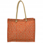 15-  ORANGE & TAN GREEK KEY JUTE BAG
