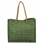 15-  GREEN & TAN GREEK KEY JUTE BAG